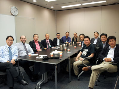 CASBAA joins other Hong Kong industry associations in an exchange of views with Hong Kong legislators from the IT sector.   On the left, IT Sector Representative Charles Mok, and Chief Policy Officer John Medeiros.  At right, directly-elected legislator Sin Chung-Kai.